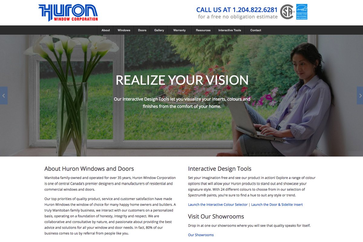 Huron Window Corporation website designed by 6P Marketing
