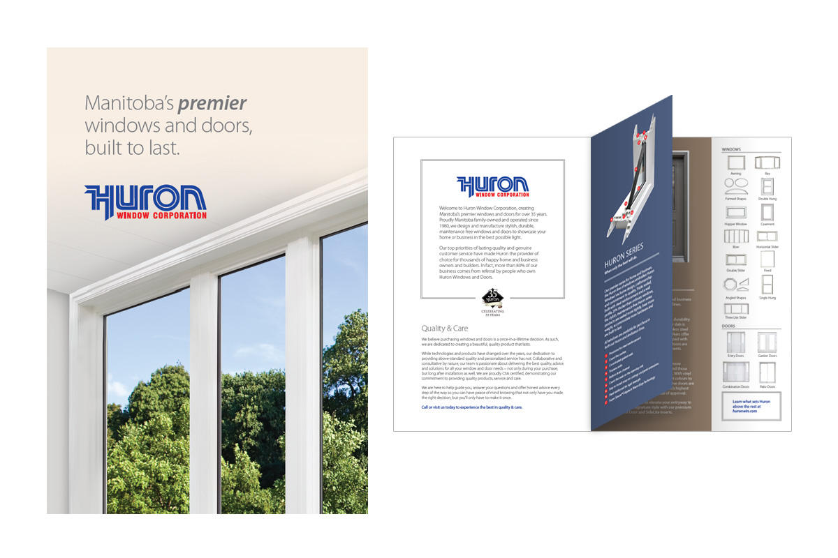 Brochure designed by 6P Marketing for Huron Windows