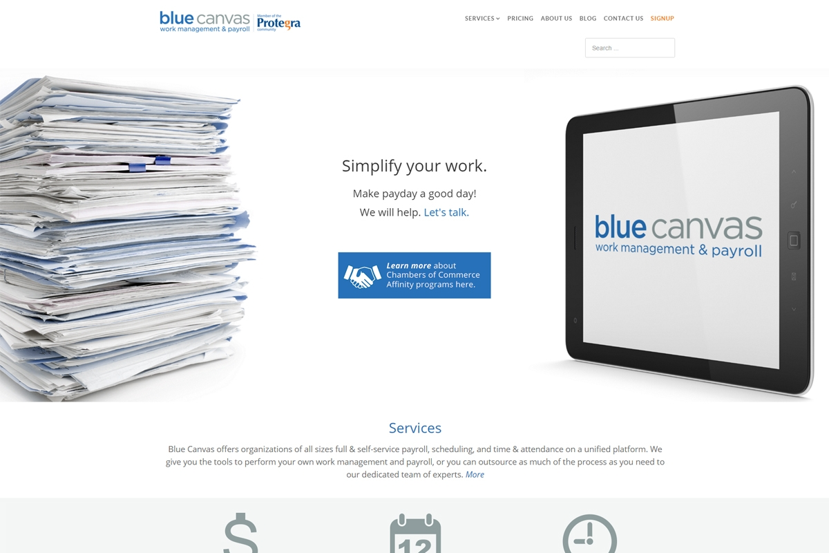 Blue canvas website designed by 6P Marketing