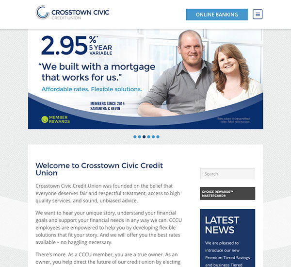 Crosstown Civic Credit Union website designed by 6P Marketing