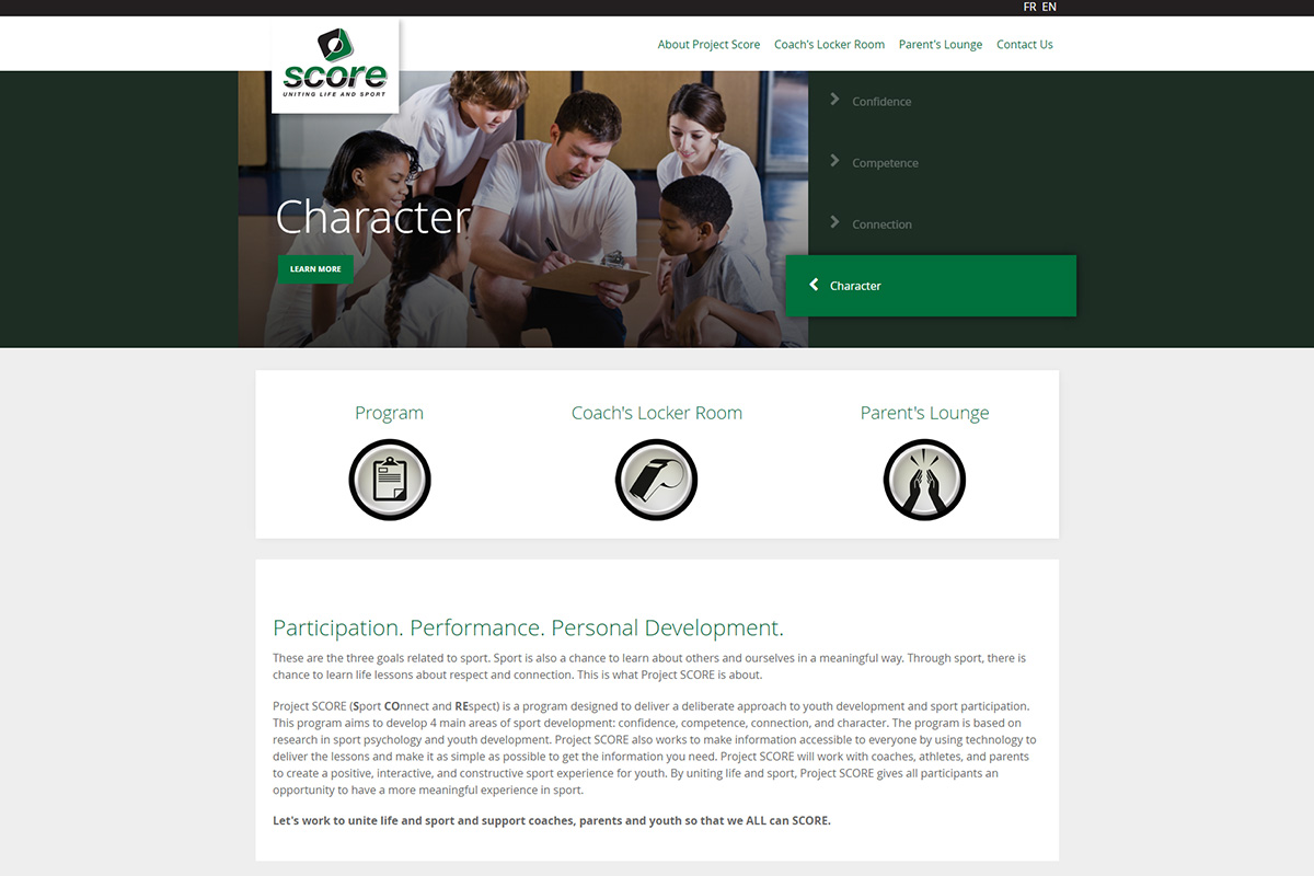 Project Score website designed by 6P Marketing