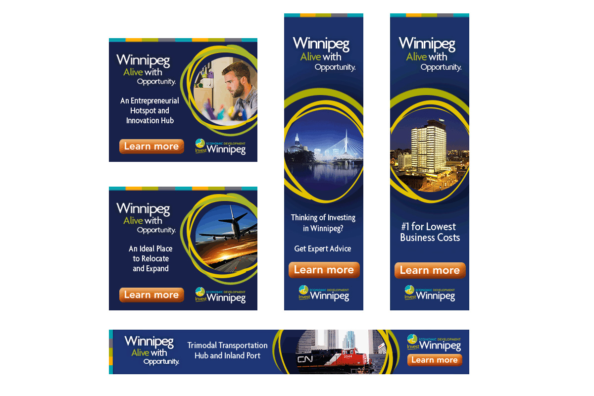 Online ads designed by 6P Marketing for Econdomic Development Winnipeg