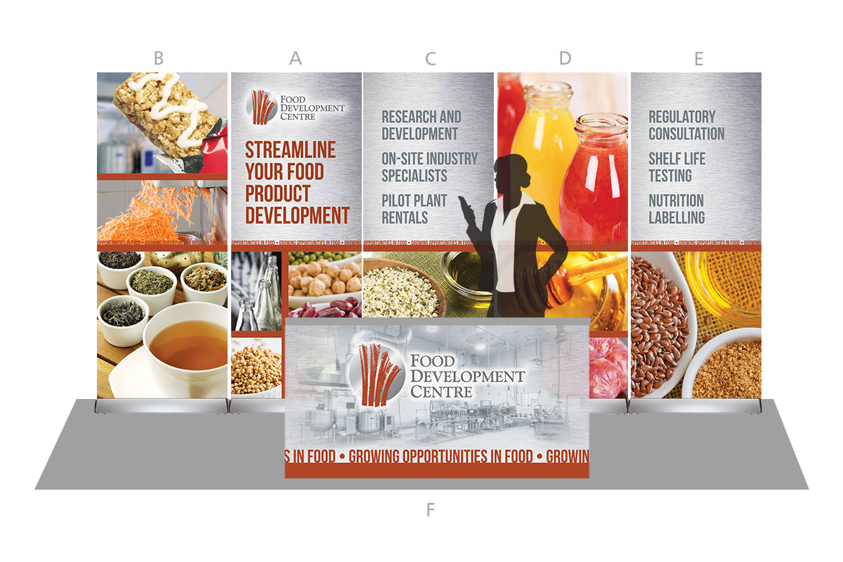 Tradeshow display designed by 6P Marketing for Food Development Centre