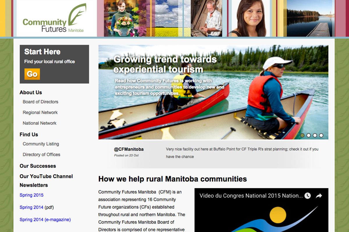Community Futures Manitoba website designed by 6P Marketing