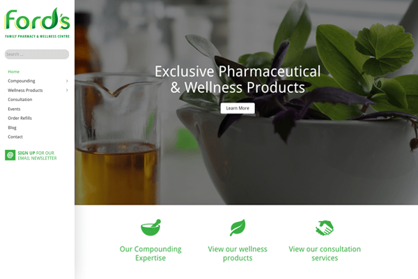 Ford's Family Pharmacy and Wellness Centre website designed by 6P Marketing