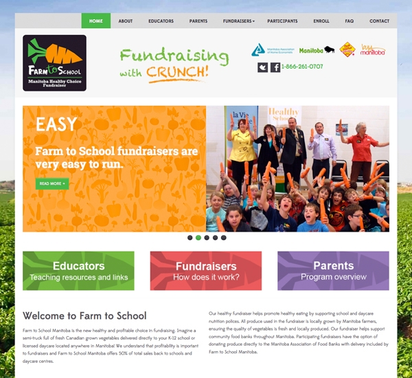 Farm to School Manitoba website designed by 6P Marketing