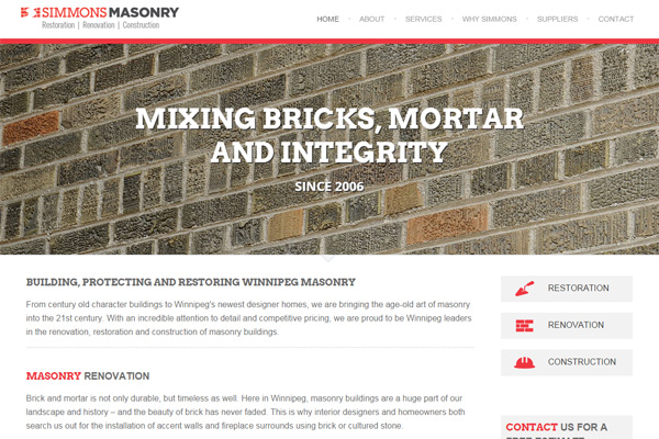 Simmons Masonry website designed by 6P Marketing