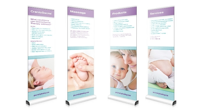 Tradeshow display designed by 6P Marketing for Purely Baby