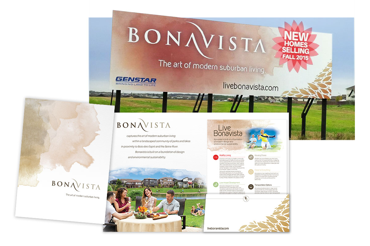 Community signage and collateral designed by 6P Marketing for Genstar Developments (Bonavista)