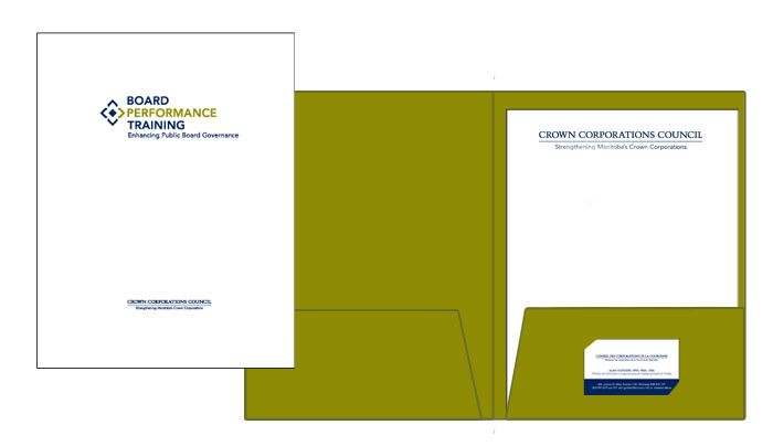 Folder and stationery designed by 6P Marketing for Board Performance Training
