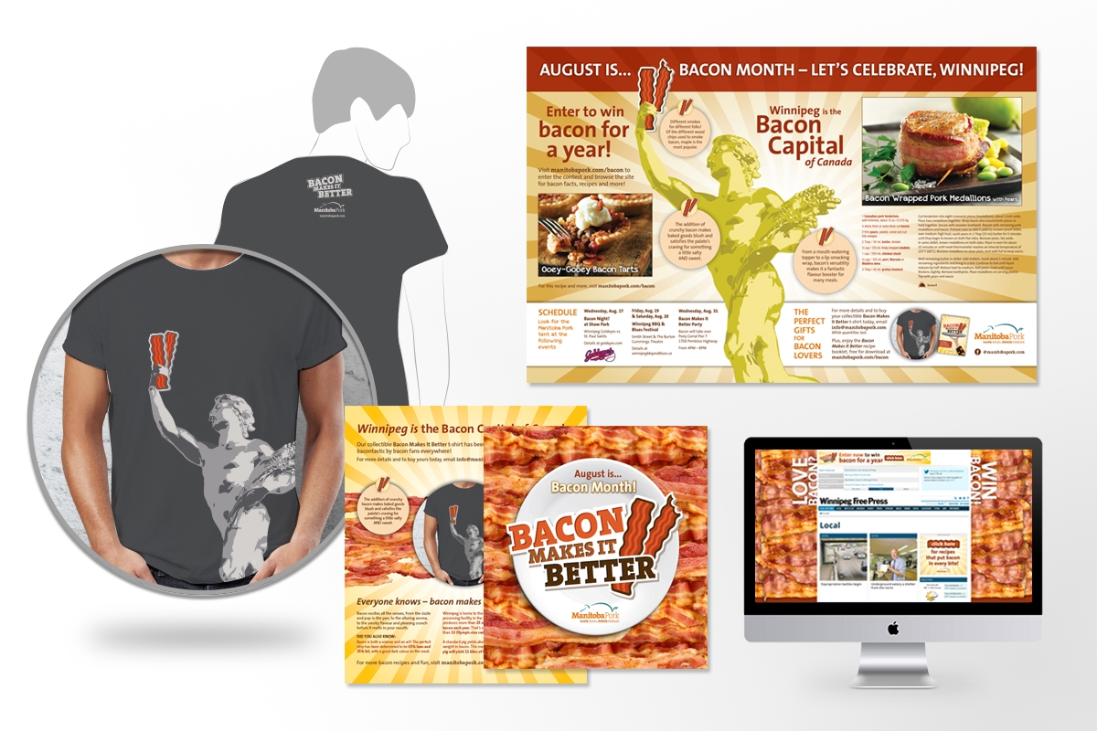 Campaign materials designed by 6P Marketing for Manitoba Pork Bacon Month