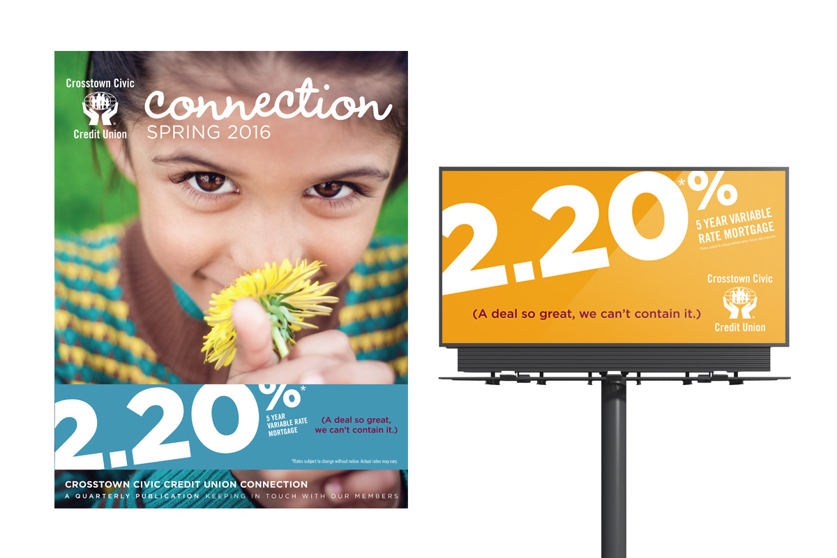 Campaign creative designed by 6P Marketing for Crosstown Civic Credit Union
