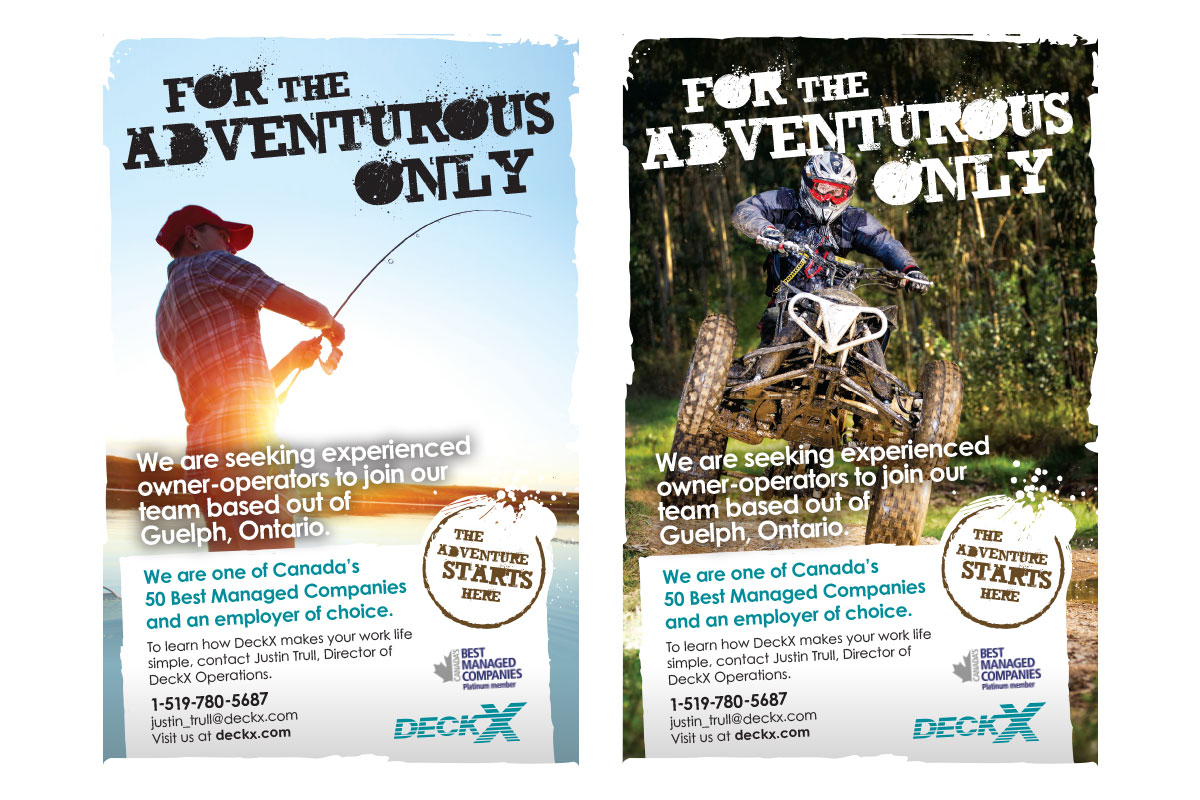 Print ads designed by 6P Marketing for DECKX