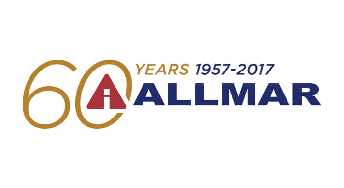 Allmar 60 years logo designed by 6P Marketing