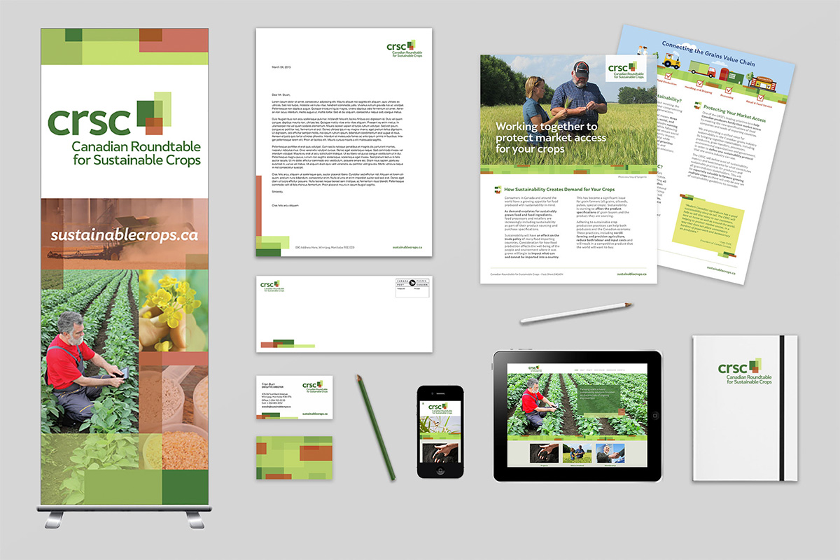 Brand collateral designed by 6P Marketing for Canadian Roundtable for Sustainable Crops