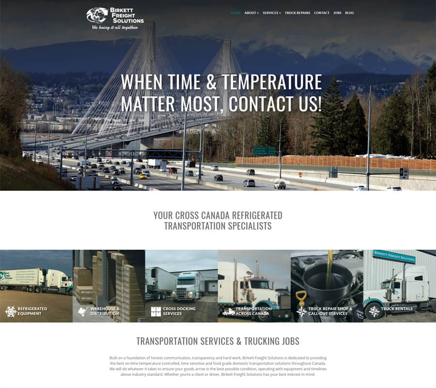 Birkett Freight Solutions website designed by 6P Marketing