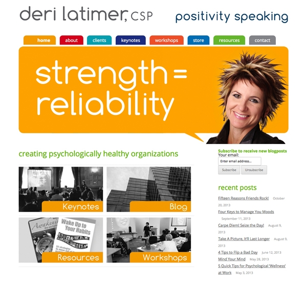 Deri Latimer website designed by 6P Marketing
