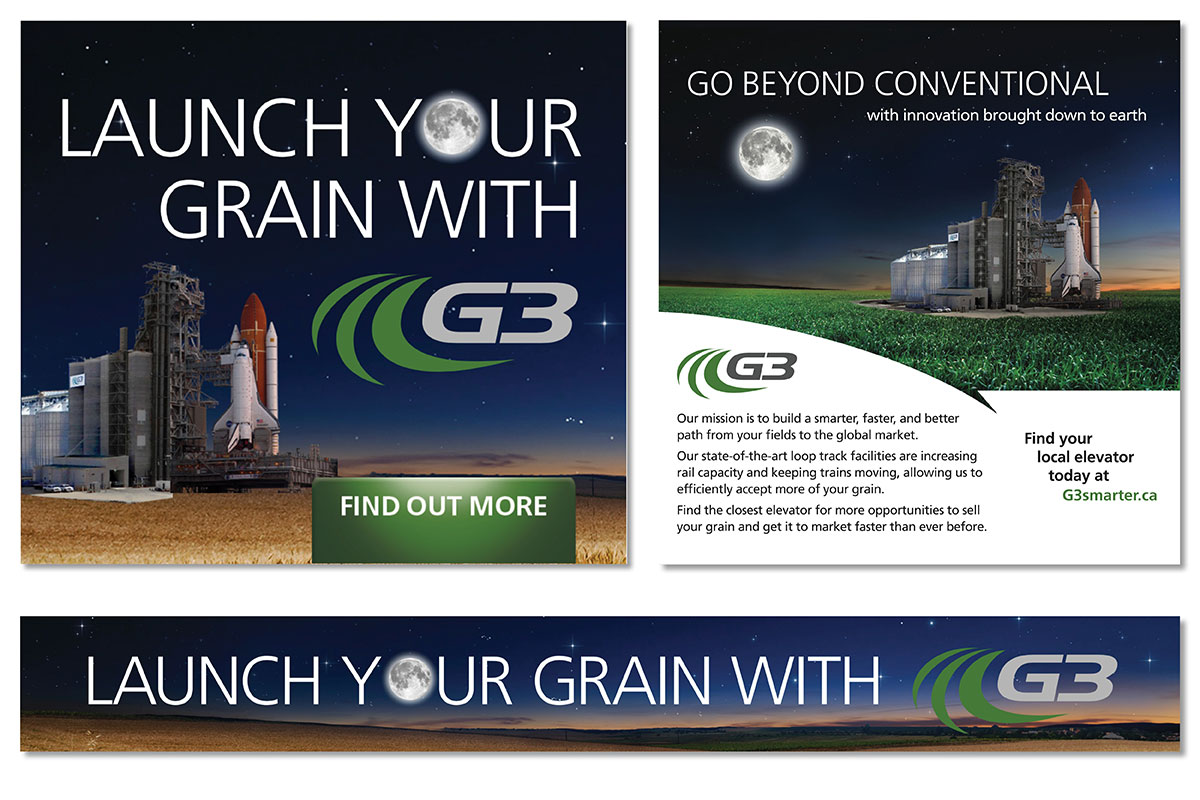 Print ads and online ads designed by 6P Marketing for G3