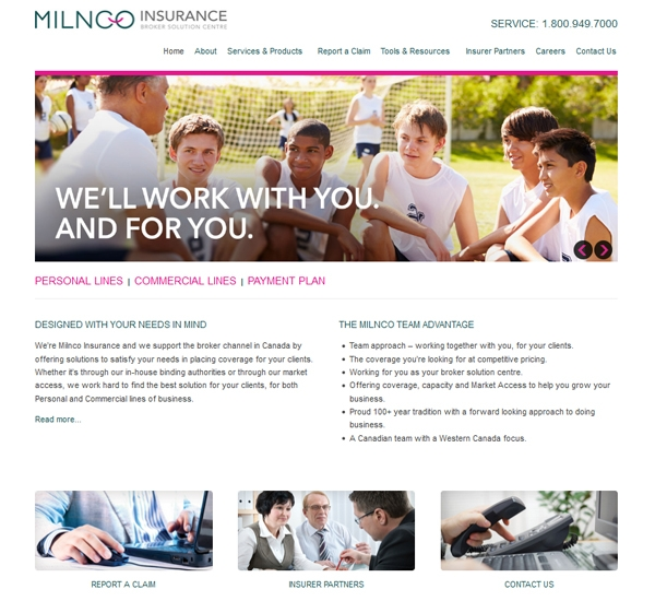 Milnco Insurance website designed by 6P Marketing