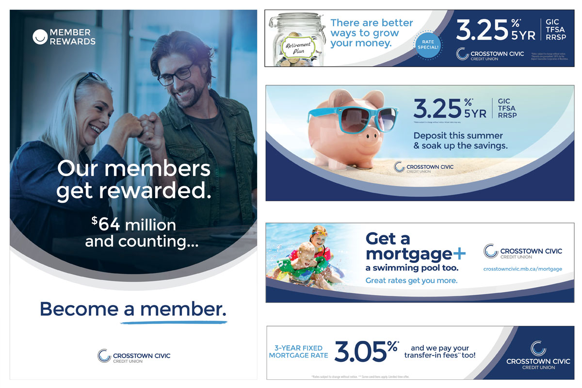 Display ads designed by 6P Marketing for Crosstown Civic Credit Union