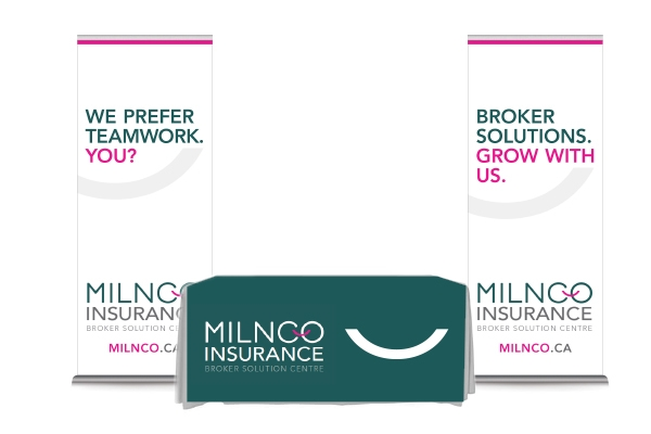 Tradeshow display designed by 6P Marketing for Milnco Insurance