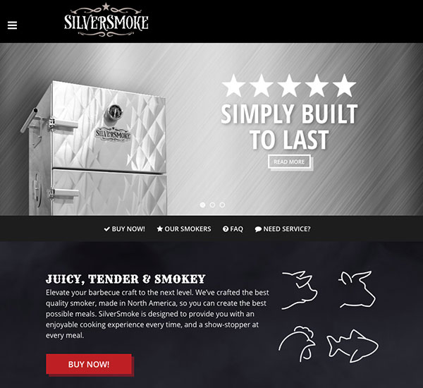 Silversmoke website designed by 6P Marketing