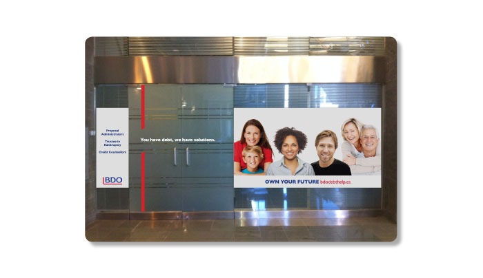 Window signage designed by 6P Marketing for BDO Dept Help