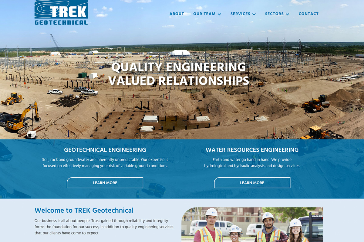 Trek Geotechnical website designed by 6P Marketing