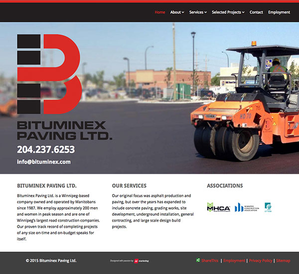 Bitumex Paving Ltd. website designed by 6P Marketing