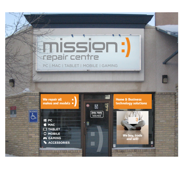 Store graphics and Point of Sale (POS) materials designed by 6P Marketing for Mission Repair Centre