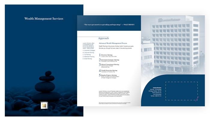 Folder designed by 6P Marketing for Wealth Management Services