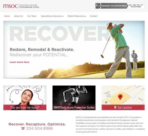 Madison Square OrthoRehab Clinic website designed by 6P Marketing