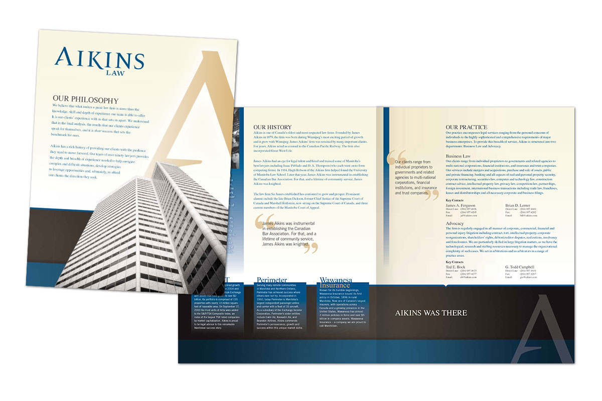 Brochure designed by 6P Marketing for Aikens Law