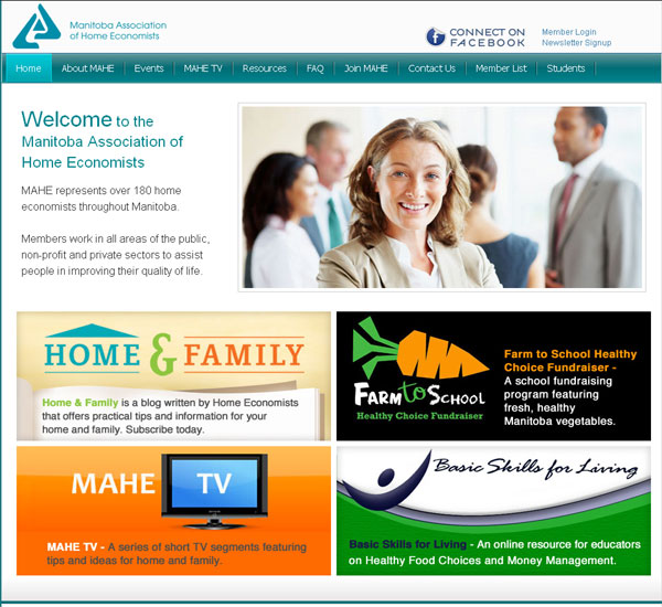 Manitoba Associaton of Home Economists website designed by 6P Marketing