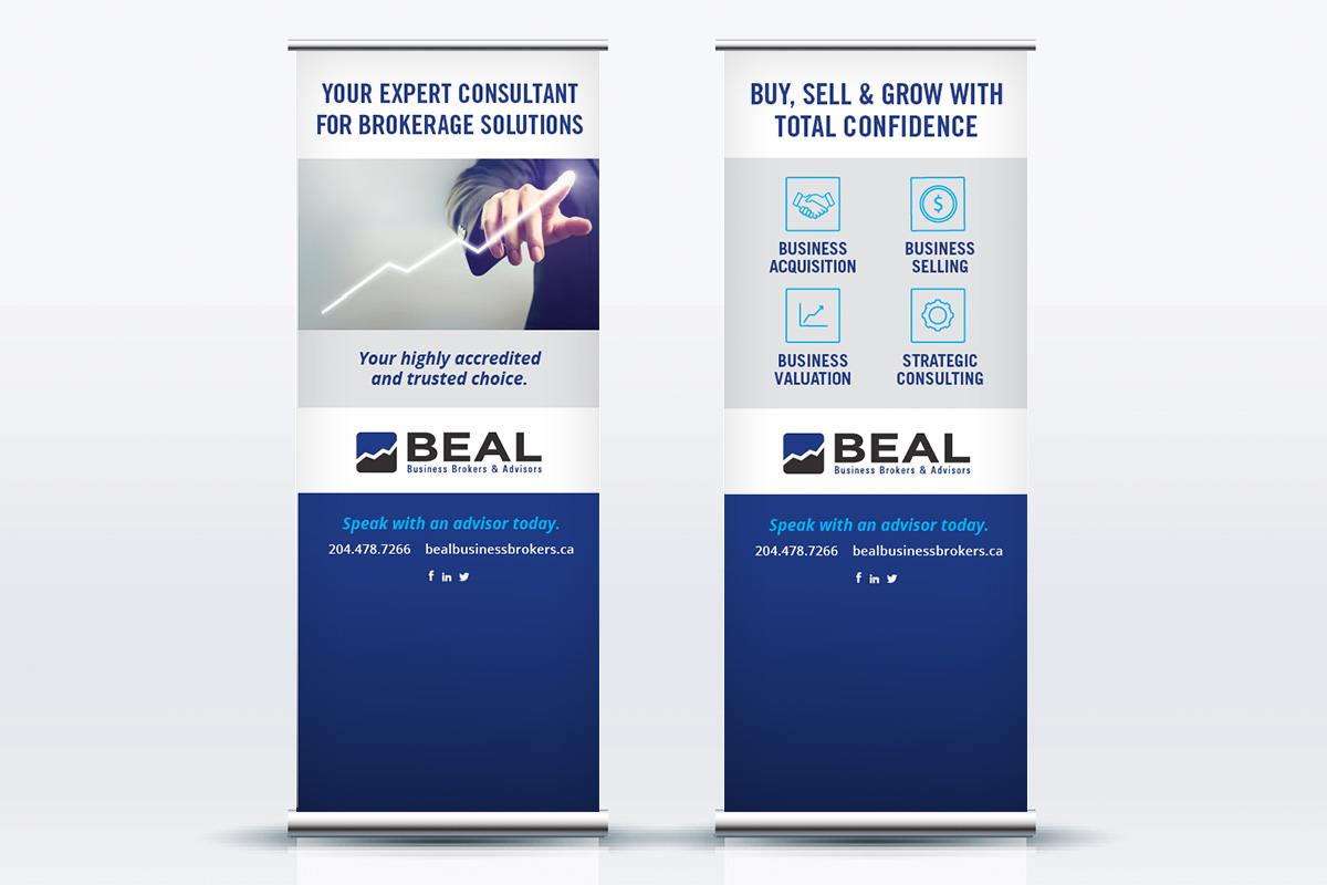 Tradeshow display designed by 6P Marketing for Beal Business Brokers and Advisors