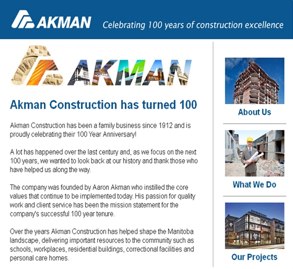 Akman email newsletter designed by 6P Marketing