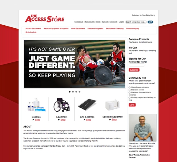 The Access Store website designed by 6P Marketing