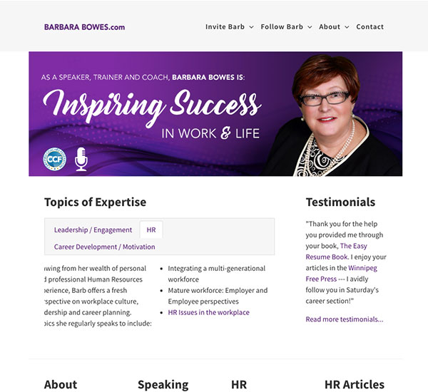 Barbara Bowes website designed by 6P Marketing