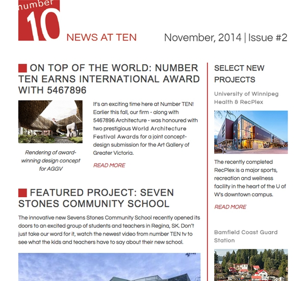 Number TEN email newsletter designed by 6P Marketing