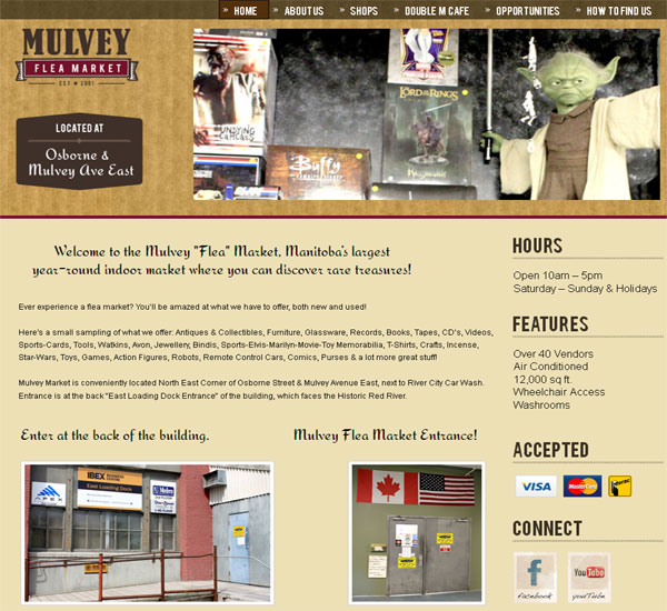 Mulvey Flea Market website designed by 6P Marketing