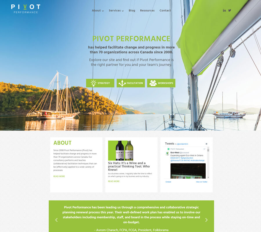 Pivot Performance website designed by 6P Marketing