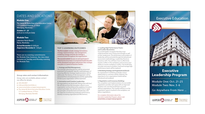 Brochure designed by 6P Marketing for Asper Executive Leadership Program