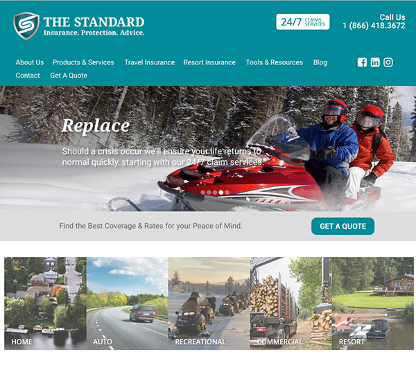 The Standard website designed by 6P Marketing