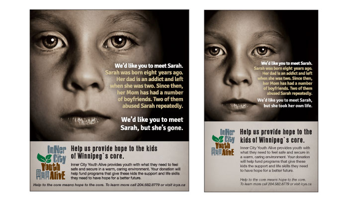 Print ads and online ads designed by 6P Marketing for Inner City Youth Alive campaign