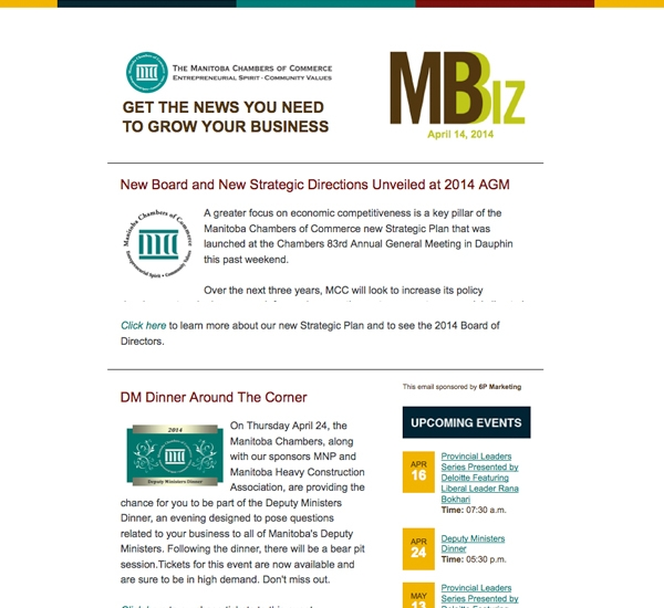 Mbiz email newsletter designed by 6P Marketing