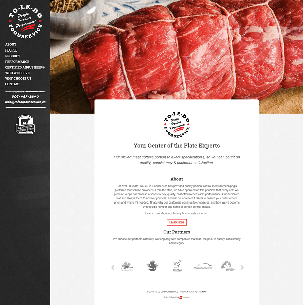 To-le-do Foodservice website designed by 6P Marketing