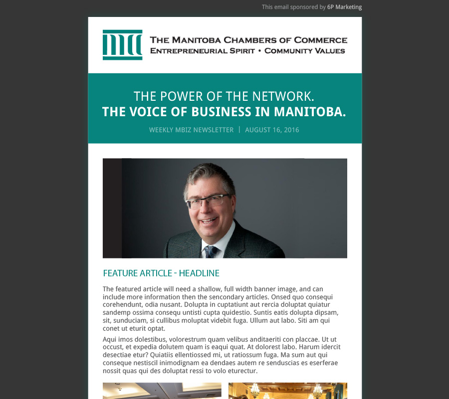 The Manitoba Chambers of Commerce email newsletter designed by 6P Marketing