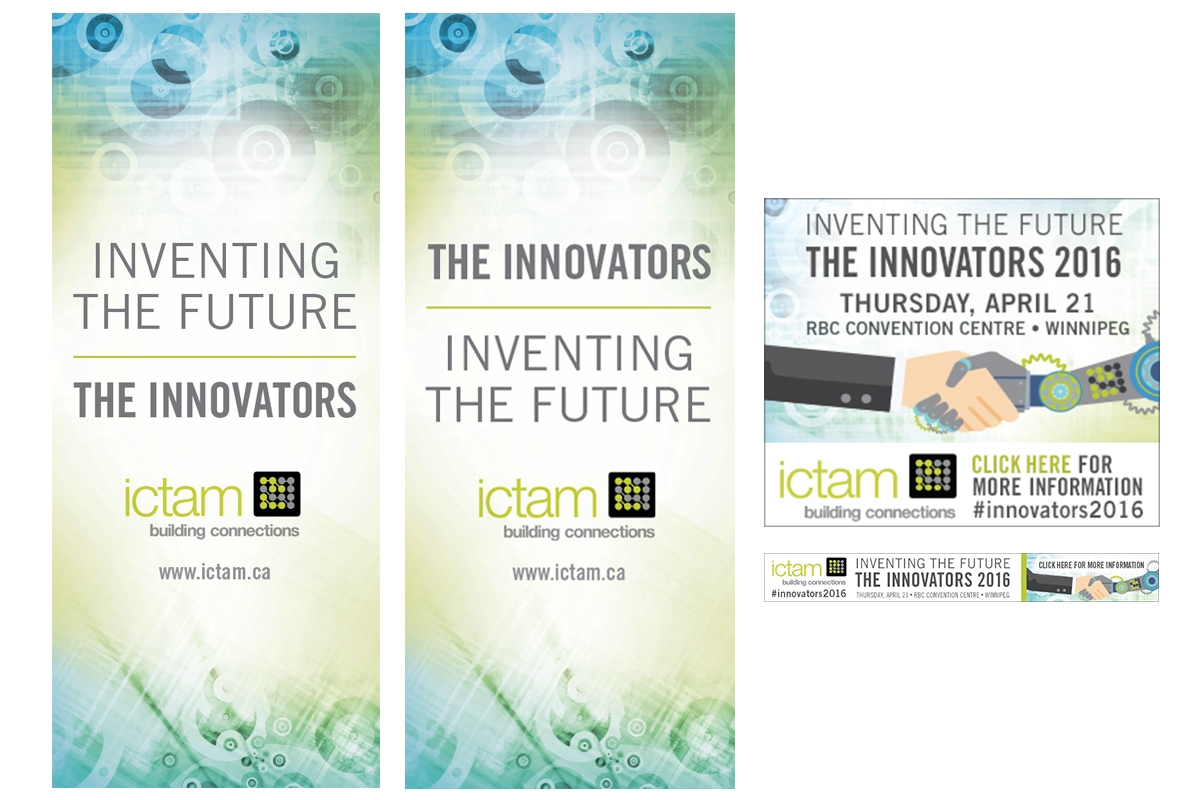 Campaign materials designed by 6P Marketing for The Innovators event