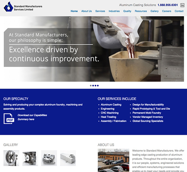 Standard Manufacturers Services Ltd. website designed by 6P Marketing