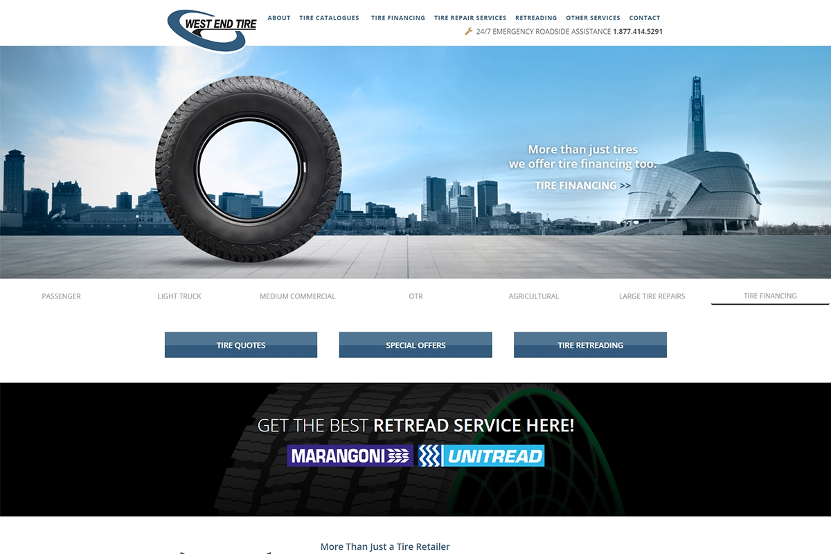 West End Tire website designed by 6P Marketing